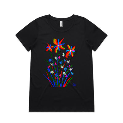 Flowers No1 Womens Shallow Scoop Tee Thumbnail